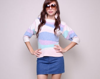 Small / Medium - 80s Pastel Sweater - Striped Sweater - Vintage Sweater - Slouchy Sweater