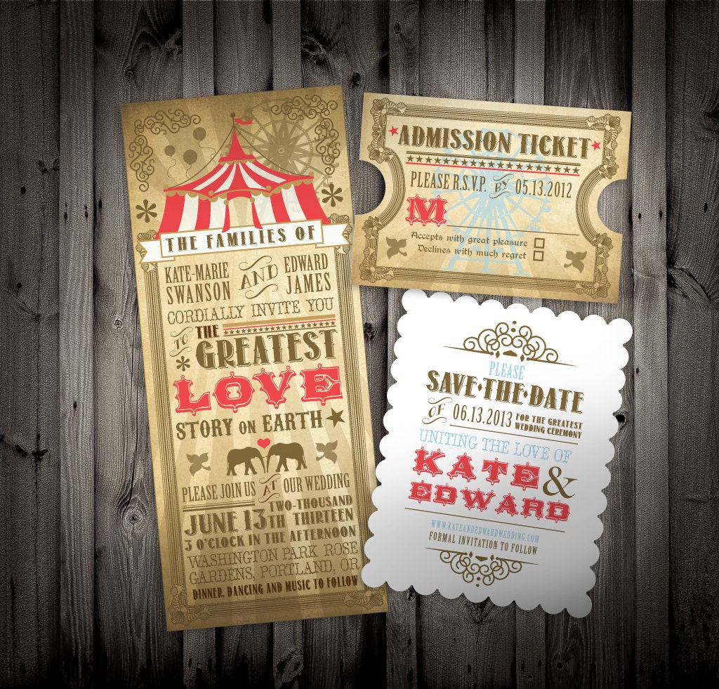 Downloadable PDF Customizable Vintage Circus Carnival By