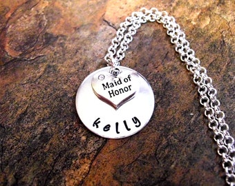 Wedding Necklace, Maid of Honor Necklace, Personalized Maid of Honor Necklace, Maid of Honor Jewelry, Bridal Jewelry