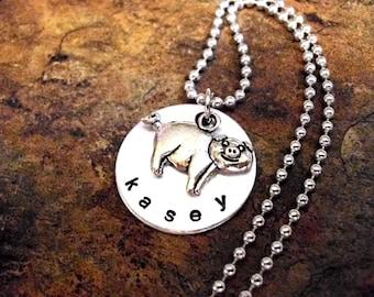 Personalized Jewelry, Pig Necklace, Pig Jewelry, Personalized Pig Necklace, Animal Jewelry, Hand Stamped Jewelry