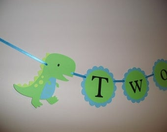 TWO, Dinosaur banner, baby shower decor, dinosaur birthday,  PHOTO PROP, boy birthday, baby dino, dino party decorations,