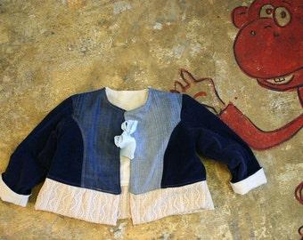 Upcycle boho reversible girls denim velour  toddler jacket