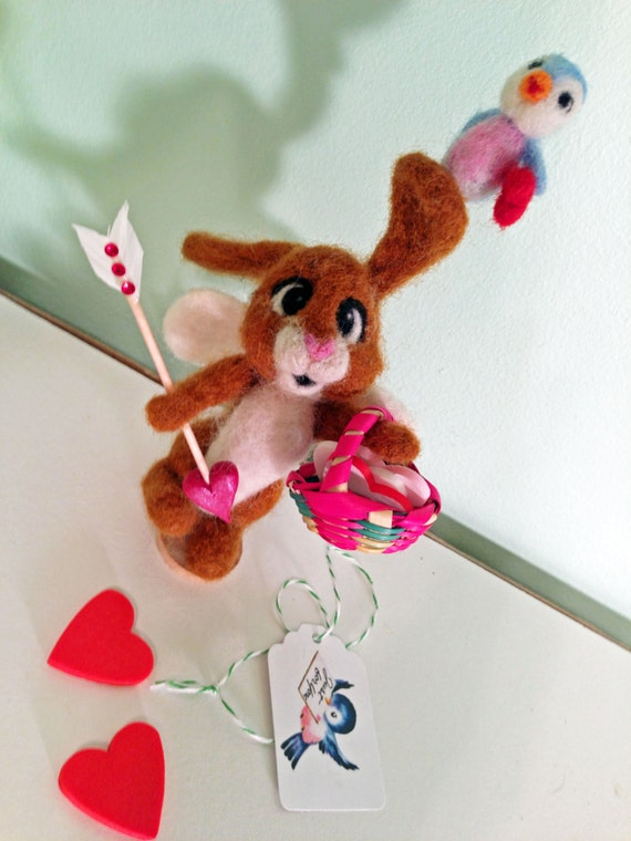 Needle Felted Cupid Bunny Rabbit with Little Bluebird Friend