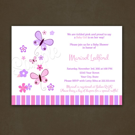 Butterflies Baby Shower Invitations Printable By
