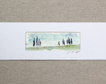 tuscan landscape- Cypress- original watercolor painting matted to 4x12