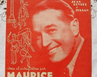 Vintage French 1940's Song / Sheet Music  - Paris...Finally Found You. (Maurice Chevalier)
