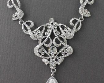Rhinestone Bridal Necklace, Crystal Bridal Necklace, Art Deco Wedding Necklace, Statement Bridal Jewelry, NINA