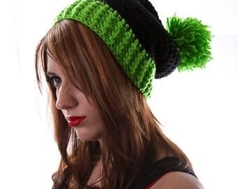 Pom Pom Winter Hat, Slouchy Pom Pom Hat, Black and Green Hat, Pom Pom Beanie, Slouchy Winter Hat, Ski Hat, Double Pom Pom Hat, Pom Poms
