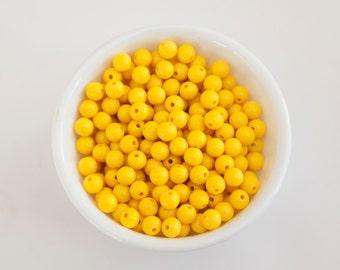 8mm Yellow Acrylic Beads 75 ct.