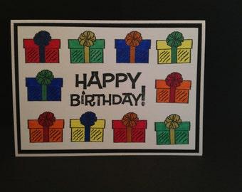 Gift Border Birthday Card