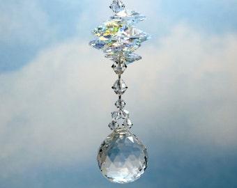 m/w Swarovski® crystals, 20mm 8558 BEST Crystal Ball & Aurora Borealis Octagon Suncatcher Car Charm or Home Ornament, Pearl Place N More