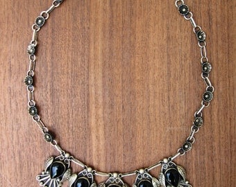 Vintage sterling silver Mexican Necklace with Black Onyx Birds