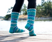 Blue turquoise socks hand knit striped socks in wool blend yarn. Ocean.