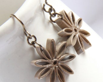Taupe Star Earrings Nine Pointed Paper bridesmaid gift Eco Friendly Earrings, Artisan Jewelry hypoallergenic