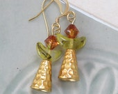 UU Chalice Earrings - Topaz crystal with vintage chartreuse glass crescent and gold plated cone
