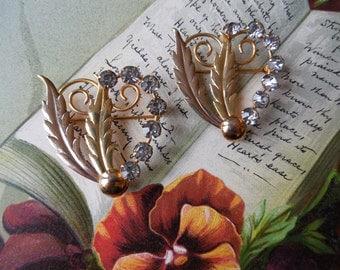 2 Austrian Mini Brooches Matching Vintage Rhinestone Leaf & Heart