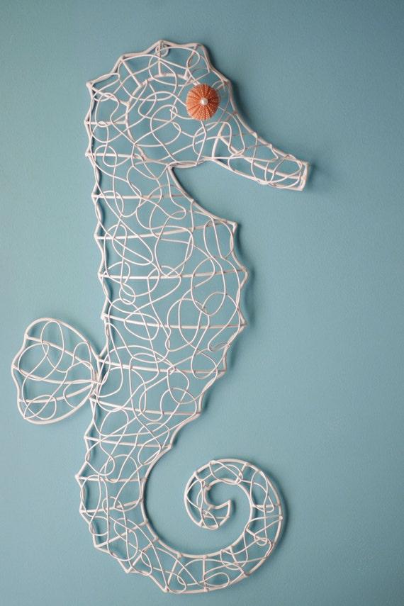 Coastal Wall Decor Metal Wire Sea Horse-Pink Sea Urchin Eye