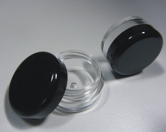 100 BMS Cosmetic Jars Plastic Lip Balm Containers Pot - 5 Gram (Black Lids)  5017-100   FREE US Shipping