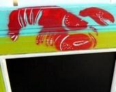 "Lobster Chalkboard Original Art Turquoise Green 13 1/2"" x 15 3/4"" Framed Beach Coastal Surf Nursery Birthday Party Kitchen Sign Decor"