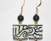 JBB Rare Artisan Lampwork Tribal Bead Earrings