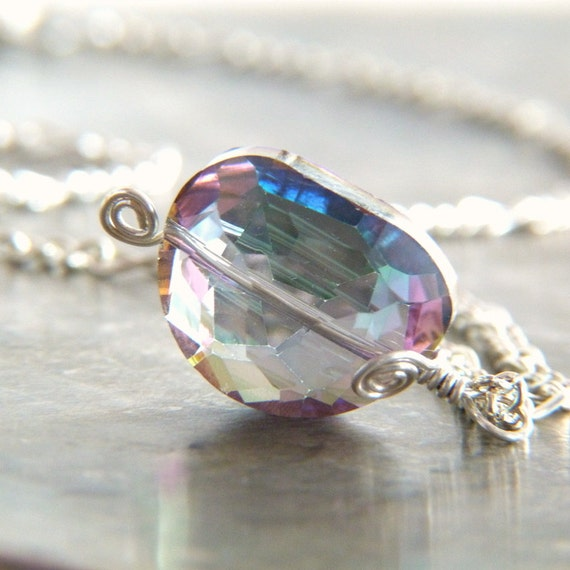 SALE - Rainbow Crystal Silver Filled Wire Wrapped Pendant Necklace - Wire Wrap Jewelry