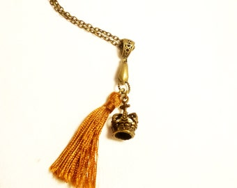 Charm necklace, jewelry, brass necklace, vintage pendant, gifts for her, Handmade by Marumadrid