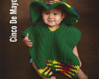 Baby Sombrero and Poncho Photo Prop - Newborn to 6 months - Green and Multi color - ANY Colors