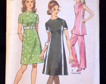Vintage Sewing Pattern Simplicity 9206 Princess seams dress tunic pantsuit Colorblock High waist 1970s 1970