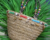 Vintage Unique Straw Safari Tote Purse w/ Eclectic Ethnic Beading and Little Whimsical Carved Exotic Wooden Animals