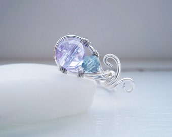 Wire Wrapped Ring - Contemporary Design with Swarovski Crystal - Size 6 - SPROUT