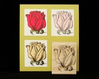 flower rubber stamp rose bud
