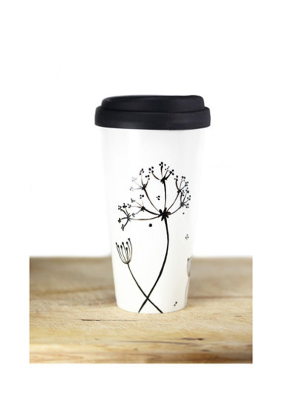 Ceramic Coffee Mug with silicone black lid - Queen Anne's Lace Design  Black Botanical Minimalist Modern Eco Friendly Decorative Unique Art