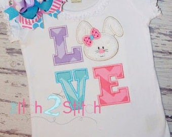 Bunny Love Applique Design For Machine Embroidery INSTANT DOWNLOAD now available