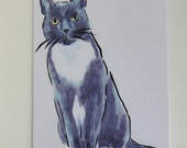 Tuxedo Cat Watercolor Card Art Greeting Card From my Original Watercolour Painting