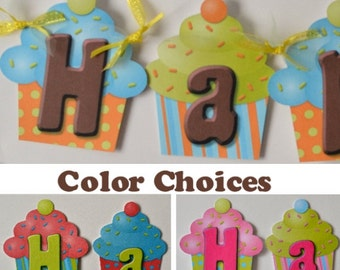 Cupcake Birthday Party, Cupcake Theme, Cupcake Birthday Decorations, Baby Shower Cupcake Decorations - Custom Message up to 20 letters