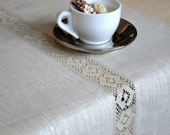 Tan Table Runner Natural Linen Table Decor Table Runner  With Lace Undyed Linens