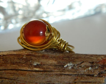 Gemstone Ring Carnelian Wire Wrapped Ring Jewelers Bronze wire