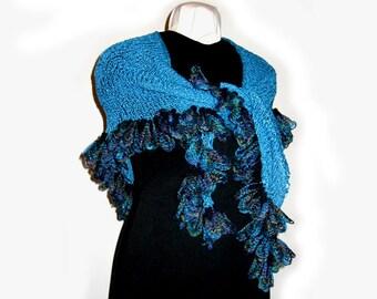 Hand Knit Ruffled Shawl, Turquoise Rayon, Linen Blend Yarn, Ruffles, Gypsy, Boho, Handmade, Shaped Triangular Shawl, Wrap, Original Design