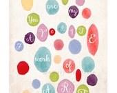 You Are My Favorite Work of Art Print - Watercolor - Childrens wall art print - Girls boys bedroom - Emily Burnette Recipe 4 Cute
