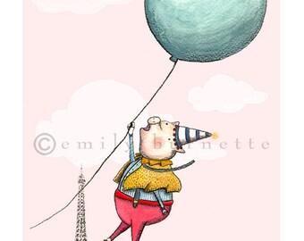 Piglets Over Paris - Children's kids Wall Art Print - Paris, Pink, Yellow, Balloon, Pig - Emily Burnette - Recipe 4 Cute