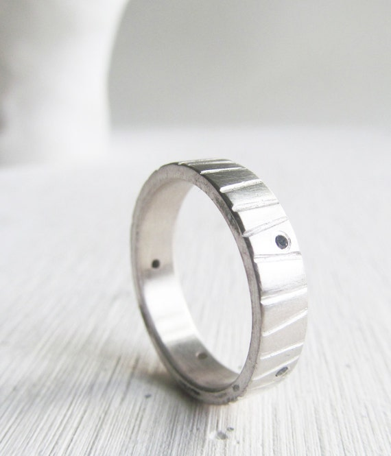 men's wedding band - black diamond modern engagement ring - palldium sterling silver - his and hers - his and his - hers and hers