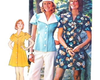 1970s Bust 34 Misses Dress Vintage Sewing Pattern Blouse Simplicity 6220 How to Sew c 1974 70s