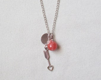 Cherry Quartz Bead Pendant Necklace With Heart Arrow Charm with FREE SHIPPING