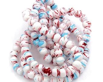 35 Mottled Multi Color Glass Beads 6mm BD262