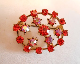 "Vintage brooch, Orange and AB Austrian crystal brooch, signed ""Austria"" brooch, 1940s brooch, vintage jewelry"