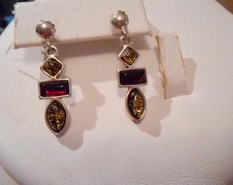 Vintage earrings, sterling silver earrings, stud earrings, amber and garnet crystal earrings, dangle earrings, vintage jewelry