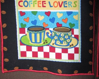 COFFEE LOVERS and GARDEN Themed Fresh Brewed Kitchen Towels Dark Brown Terry Cloth