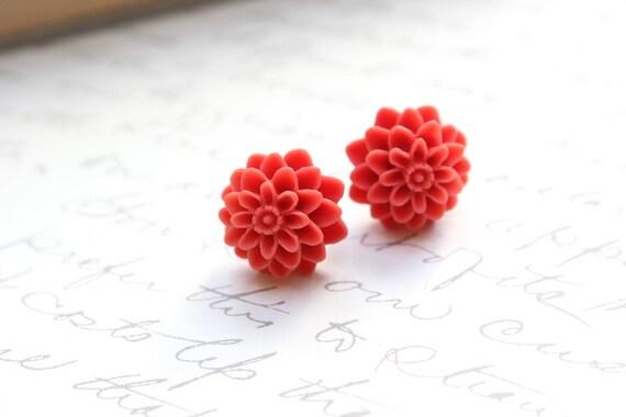 Dahlia Stud Earrings, Chrysanthemum Flower Post Earrings Coral Red Spring Floral Accessories Garden