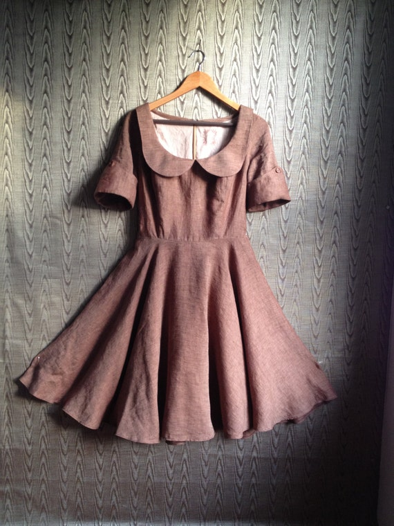 peter pan collar autumnal linen dress- brown