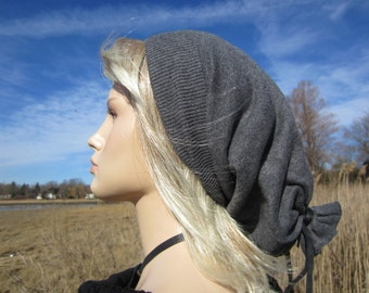 Women's Slouch Tam Grey Baggy Back Slouchy Beanie Gray Heather Lightweight Dreadlock Tube A1474